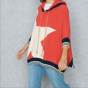 Free People poncho style hoodie with dolman sleeve